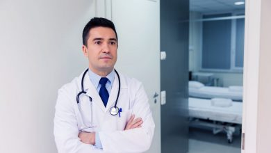 Doctor in a white coat at hospital