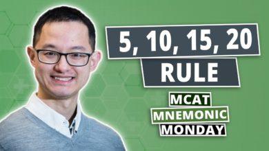 Photo of MCAT Mnemonics: 5, 10, 15, 20 Rule